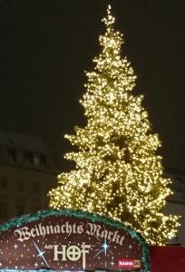 Weihnachtsmarkt am Hof - Christbaum und Eingangsschild - www.wien-erleben.com