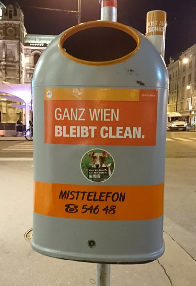 Mistkübel in Wien - Ganz Wien bleibt clean - www.wien-erleben.com