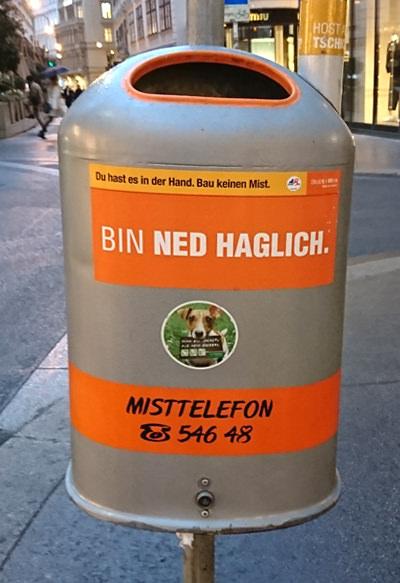 Mistkübel in Wien - bin ned haglich - www.wien-erleben.com