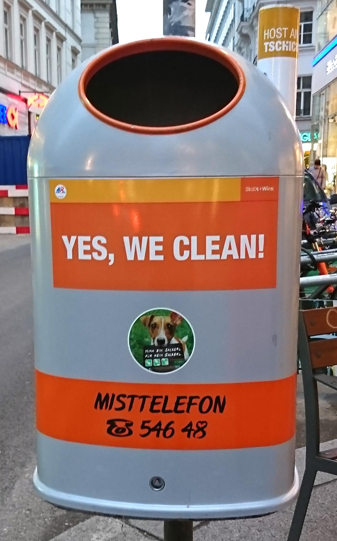 Mistkübel in Wien - Yes we clean - www.wien-erleben.com