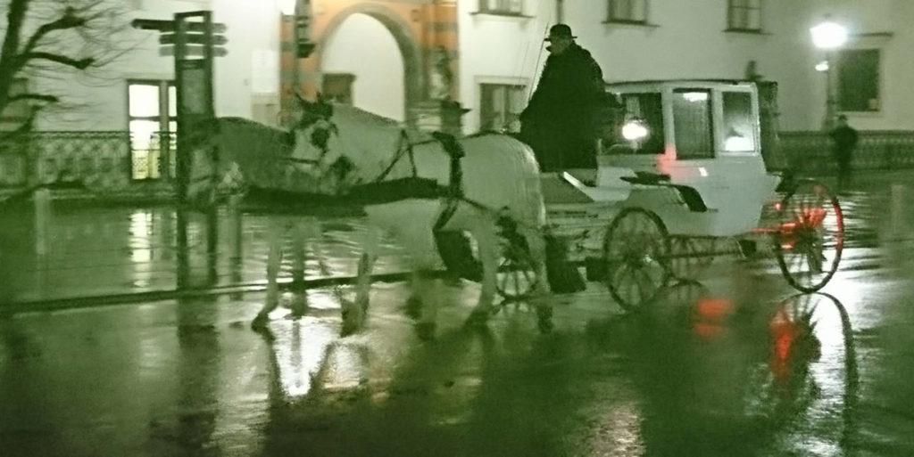 Fiaker in Wien Nachts bei schlechtem Wetter - www.wien-erleben.com
